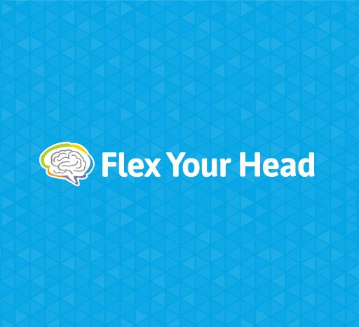 Flex Your Head logo on blue background