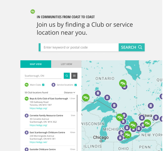 Find Your Club feature