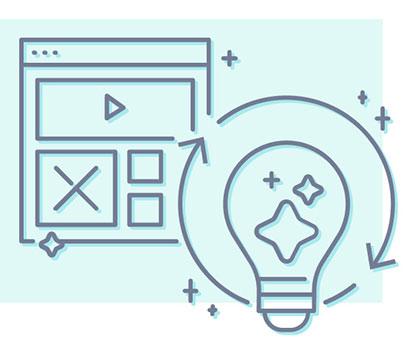 Illustration of screen and lightbulb