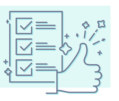 Illustration of checklist and thumbs up