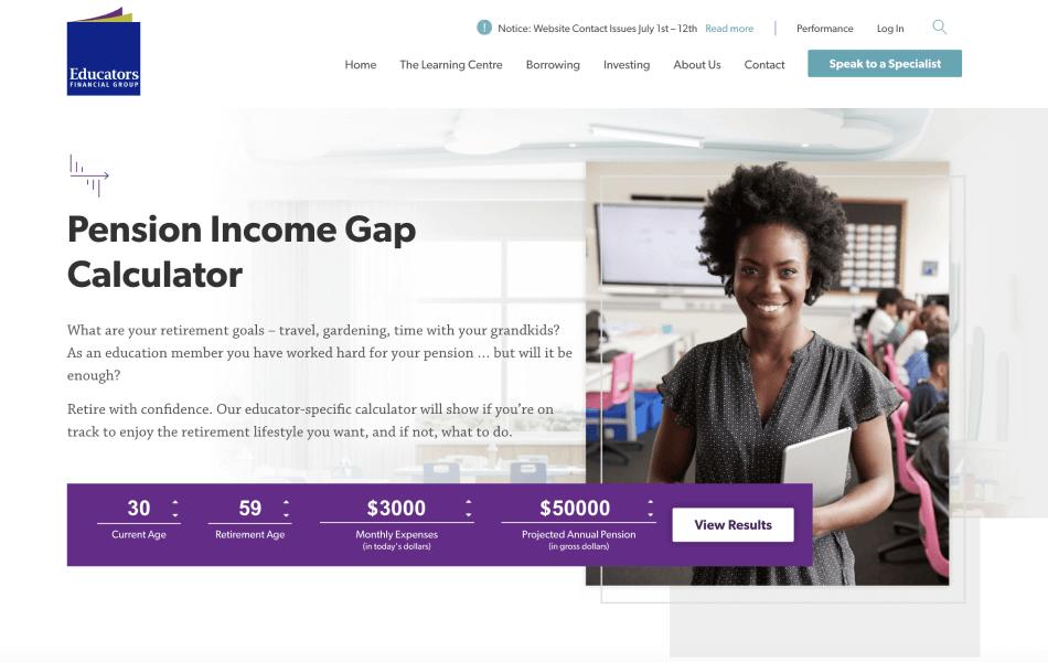 EFG Pension Income Gap Calculator website